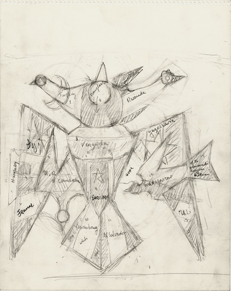 Pencil sketch of bird, its wings outstretched. It has three heads and emerging from its left wing (the viewer's right) is a smaller bird while in the center of its chest is a small five point star. Inscribed throughout the body of the bird are the names of countries, including: Yugoslavia, Rawande, Turkey, Mali, Venezuela, Hungary and others.