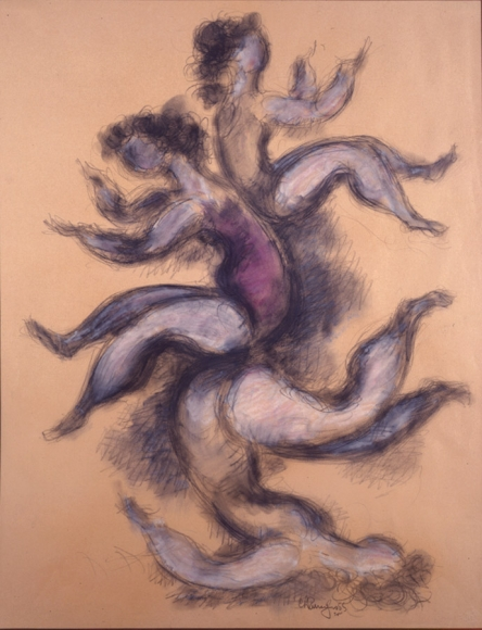 Drawing of three acrobats performing in a stacked formation, making outward gestures. A smudging technique is used to make a blurred effect, and white and pink pastel is used to add color.