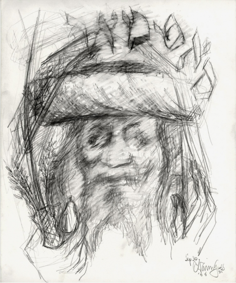 """Pencil portrait of a bearded man wearing a traditional fur hat, topped with a shawl (most likely a prayer shawl). His hands are raised, and in his right hand (viewer's left) he holds the Four Species for the festival of Sukkot. Above his head is the word """"סאַטמאַר"""" in Hebrew, or """"Satmar"""" in English, denoting the Jewish sect with which the man is affiliated."""