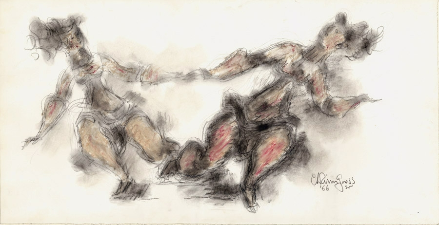 Drawing of two figures holding hands and dancing, each figure leaning to the side of the work closest to them. They are sketched in pencil and conte crayon gives color to their bodies.