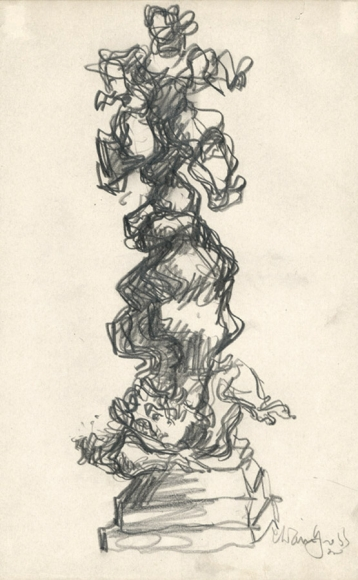 Abstract pencil drawing of figures stacked atop one another on a square pedestal.
