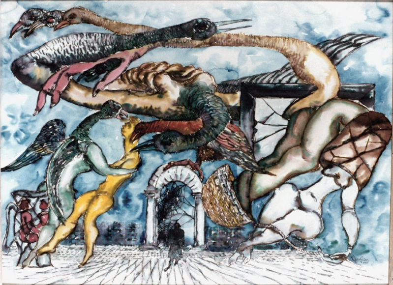 Drawing of various human and birdlike figures floating in the air and dancing. In the background there is an archway filled with cobwebs. The drawing is completed with blue, yellow, red and green watercolor paint.