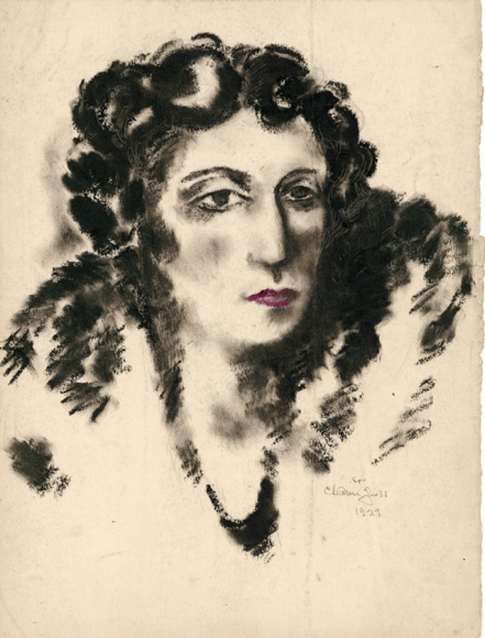 Pastel drawing of the portrait of a woman wearing a coat. She is depicted almost entirely in black outlines, except for her lips, drawn in purple.