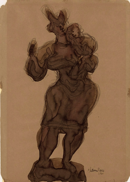 Drawing of a woman standing and holding a child in one arm. The drawing is filled in using brown ink and is outlined in pencil.