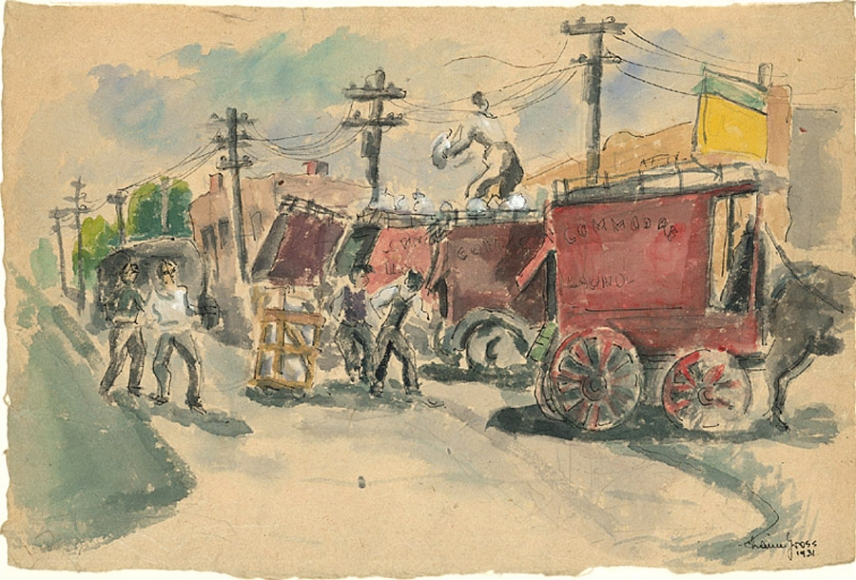 Ink, pencil, and watercolor drawing of a street lined by a row of red horse-drawn carts, which obscures both telephone poles and building façades. Throughout are various figures clothed in grey at work.