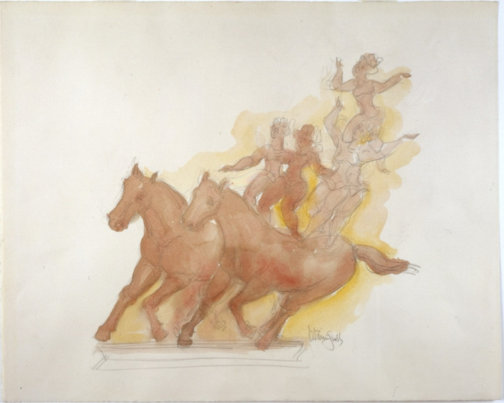 Sketch of four acrobats standing atop the backs of two horses. Orange and yellow colors are used with pencil outline.