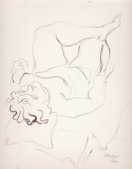 Ink drawing forming the outlines of a nude woman reclining, her head rests to the viewer's left while her legs, her left shin resting on her right knee, is closest to the top right of the work. She is reclining on what appears to be pillows and a couch.