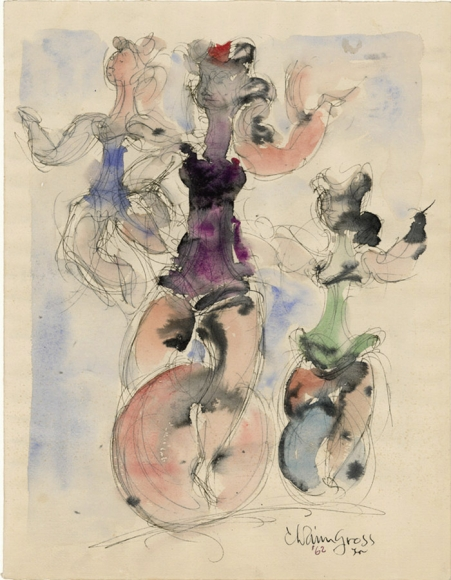 Drawing of three figures performing on unicycles. Each figure is filled in with a different color of watercolor paint.