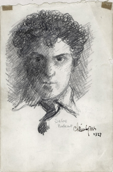 """Pencil drawing of the profile of a man (Chaim Gross), including a white collar and dark tie. Crosshatching shades his face and the space behind his head. In small letters below his collar reads """"Self Portrait"""" as well as the artist's signature."""