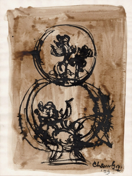 An ink drawing of a small hoop on top of another, each with roughly drawn figures inside. The background is solid brown watercolor.