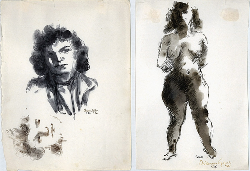 Two separate ink drawings side by side. On the left is the Portrait of a woman drawn twice, once vertically and once horizontally, the former including the top of her torso. On the right is the figure of a nude woman, complete with ink shading.