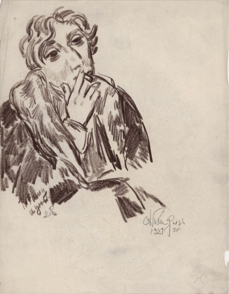 Conte crayon drawing of the upper torso and profile of a woman wearing a large coat and smoking a cigarette with her right hand (left), she faces the right side of the composition. Below her on the bottom-right is the signature of the artist, cypher, and the date.
