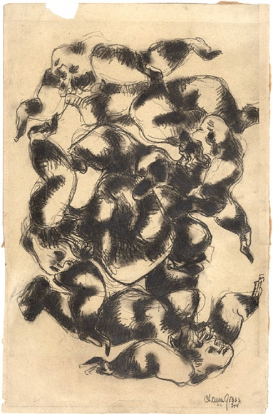 Abstract charcoal drawing of several figures linked together by their limbs in a circular formation.