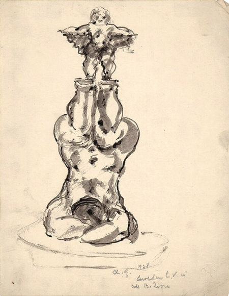 A sculptural drawing of a figure lying on their back, balancing a small figure in the air on their legs. The drawing is shaded with a light gray color.