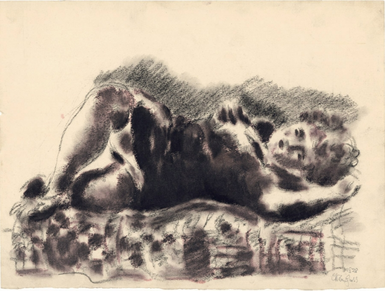 Drawing of a woman laying on her side and posing. The drawing is done in a blurred style.
