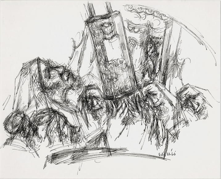 Ink crosshatch drawing of a collection of bearded men, shroud in prayer shawls, carrying a series of Torah scrolls.