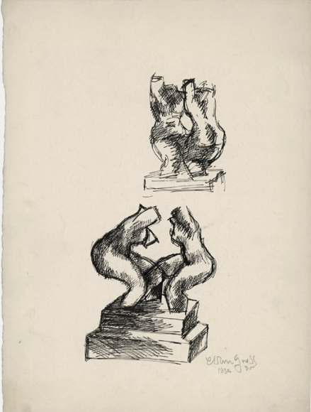 A sketch of one sculpture from two different perspectives. The sculpture depicts two nude torsos facing each other.
