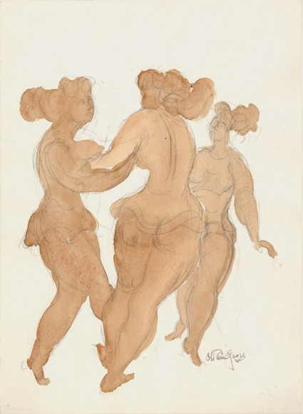 Pencil drawing of three standing female figures, two of which are holding each other's arms. Each figure is filled with a beige watercolor.