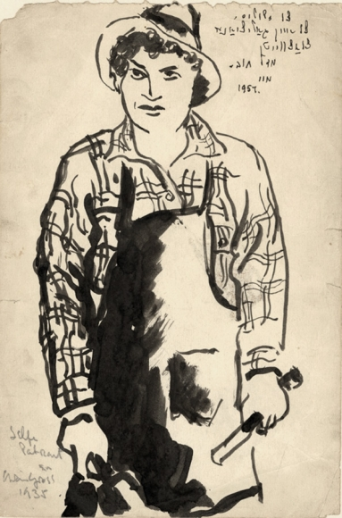 """Ink drawing of a man (Chaim Gross), wearing a wide brim hat, a plaid shirt, and an apron, holding carving tools. The top-right of the work bears the following Yiddish inscription in English translation: """"To (a) dope, to a Galitzyaner, to a blossom (bloom), moo 1957."""""""