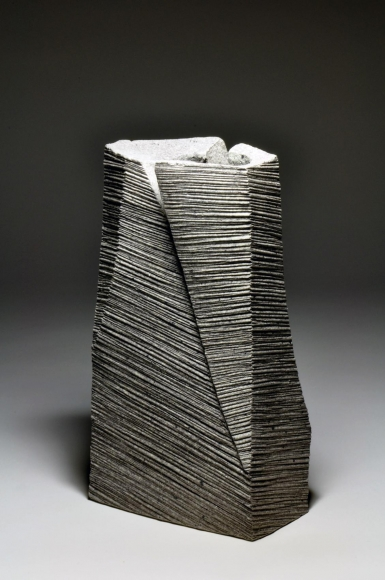 Hoshino Kayoko, rectangular vase, 2011, impressed stoneware, Japanese sculpture, Japanese ceramics, Japanese pottery, Japanese vessel, Japanese contemporary ceramics