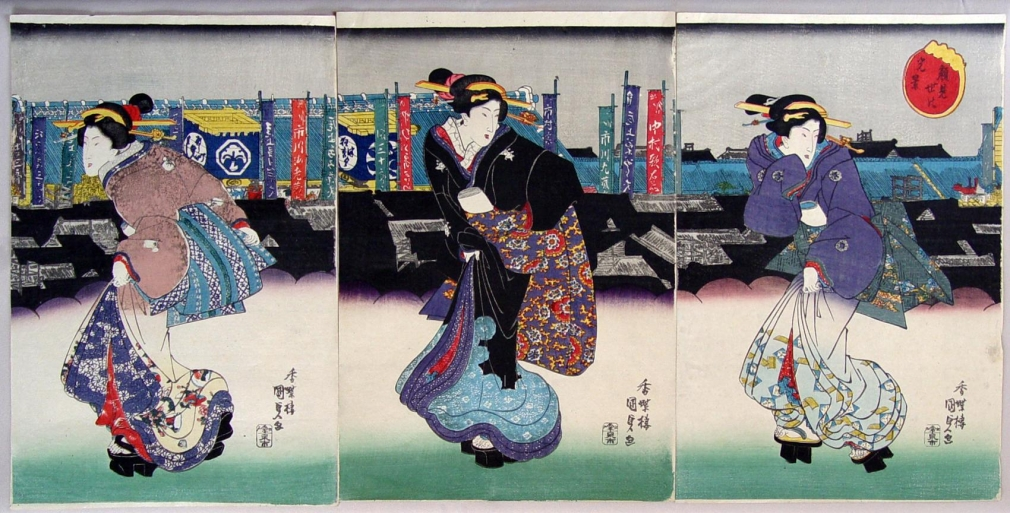 Utagawa Kunisada, (1786-1865), Opening Night in the Kabuki District, ca. 1830s, Oban tate-e triptych, Japanese ukiyoe, Japanese ukiyo-e, Japanese woodblock print, Japanese hanga, Japanese bijinga, triptych