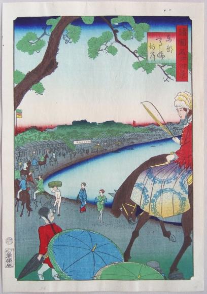 Utagawa Hiroshige II, (1826-1869), The Seashore at Takanawa in Edo, One Hundred Views of Famous Places in the Provinces, 1861, 9th month, Oban tate-e, Japanese woodblock print, Japanese hanga, Japanese Yokohama print