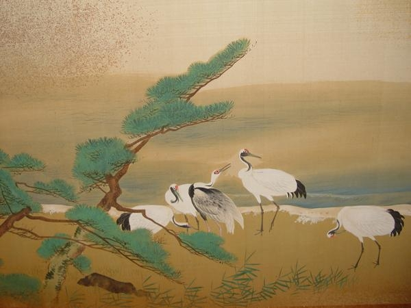 Matsumura Keibun, ca. 1838, Pair of sleeping screens with shoreline scenes depicting cranes and a small fishing village, Ink and color with flecked gold leaf on silk, Japanese screens, painting, Shijo