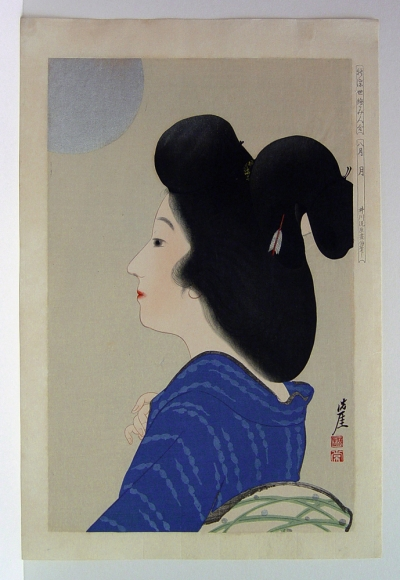 Igawa Sengai (1876-1961) August Moon from the series A New Collection of Ukiyoe Style Beauties 1924 Oban tate-e, Japanese woodblock prints, shin hanga, ukiyoe, ukiyo-e, bijin, beauties, hanga