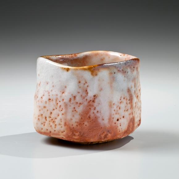 Kato, Yasukage, Kato Yasukage, Japanese, ceramics, contemporary, red, white, shino, uneven, teabowl, chawan, glazed, glazed stoneware, stoneware, 2011