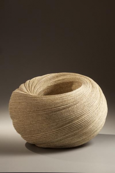 Sakiyama Takayuki, Double-walled, large twisting vessel with carved folds, 2010, Stoneware with sand glaze, Japanese contemporary ceramics, Japanese sculpture