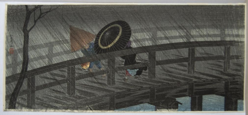 Takahashi Hiroaki (1871-1945)  Izumi Bridge in the Rain 1927 Otanzaku yoko-e, Japanese woodblock prints, ukiyoe, ukiyo-e, hanga, fukeiga, landscape prints