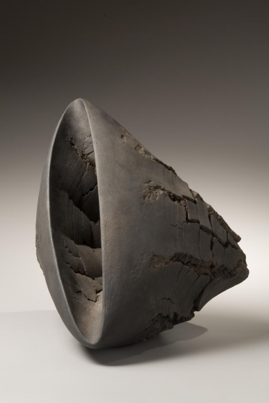 Akiyama Yo, Untitled T-51, 2007, Stoneware with wood base, Japanese contemporary ceramics, Japanese sculpture