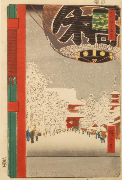 UTAGAWA HIROSHIGE, (1797-1858) ,The great gate at Asakusa in snow, 1856, 7th month, Oban tate-e, Japanese ukiyoe, Japanese ukiyo-e, Japanese woodblock print, Japanese landscape, Japanese fukei-ga, Japanese hanga