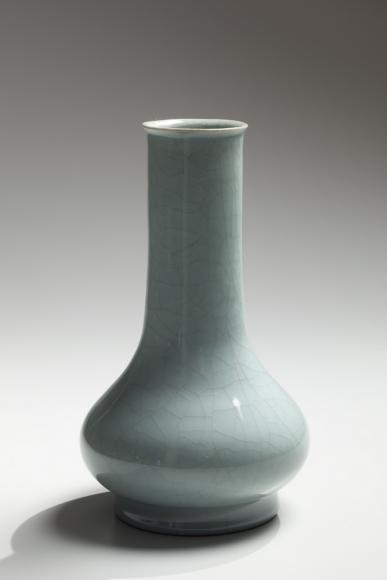 Kawase, Shinobu, Kawase Shinobu, celadon, seiji, blue, green, vase, flower, squat, ceramics, Japanese, contemporary, 1980s, glazed, porcelain, stoneware, porcelaneous, crackled