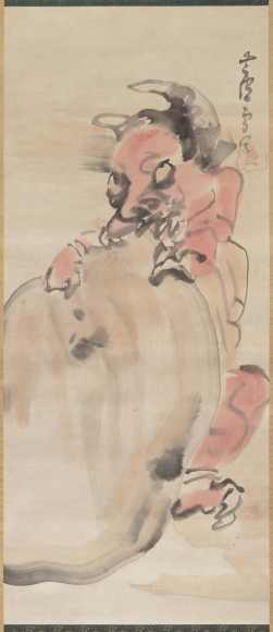 Nagasawa Rosetsu, Onisenbeizu (Demon with rice cracker), mid-1790s, Hanging scroll; ink and color on paper, Japanese painting, Maruyama, zenga, rinpa