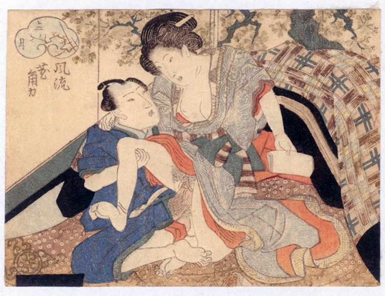 Attr. to Utagawa Kunisada (1786-1864) February from the series New Styles of Sumo ca. 1830 ​Koban yoko-e, Japanese woodblock prints, ukiyoe, ukiyo-e, hanga, shunga, erotic prints