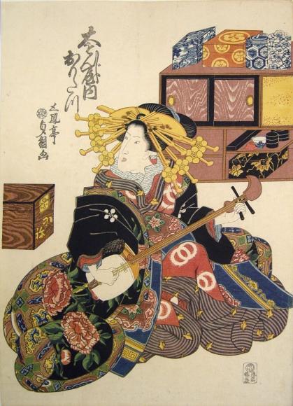 Utagawa Sadatsuna (act. ca. 1830-44) The courtesan Omotagawa of Daimonji-ya ca. 1830 Oban tate-e, Japanese woodblock prints, ukiyoe, ukiyo-e, bijin, beauties, hanga, pleasure quarters