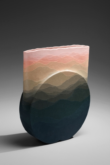Miyashita, Zenji, Miyashita Zenji, flattened, standing, vessel, vertical, circular, base, banded, banding, colored, clay, 1991, stoneware, contemporary, ceramics, Japan, Japanese, contemporary Japanese ceramics, New York, art, gallery, New York art gallery, for sale, pottery, vase