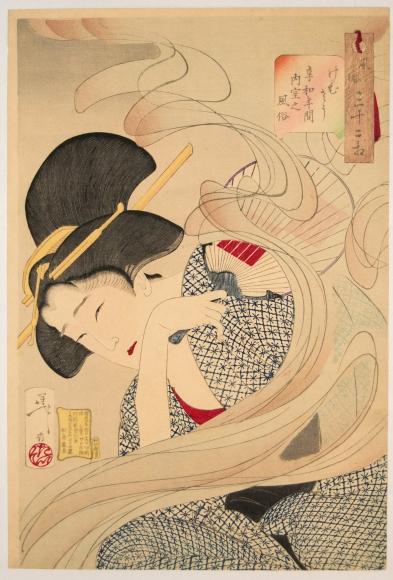 Tsukioka Yoshitoshi (1839-92) Looking Smokey: A Housewife of the Kyowa Era from the series Thrity-two Aspects of Customs and Manners 1888, 5th month, Japanese woodblock prints, ukiyoe, ukiyo-e, hanga, bijin, beauties