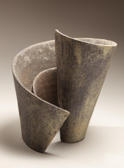 Kei (Mindscape), vertical spiraling sculpture, 2013, Japanese contemporary, modern, ceramics, sculpture