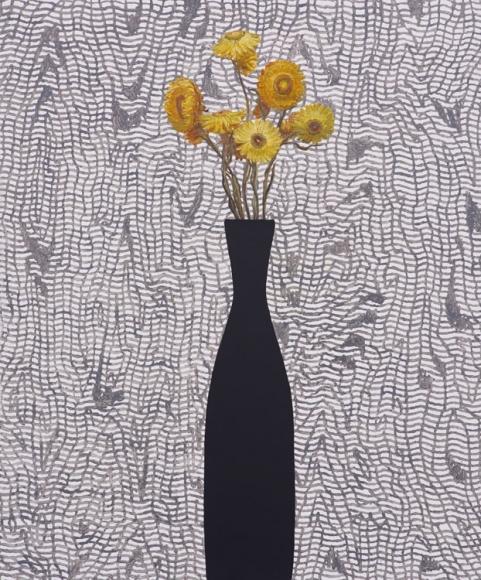 Jen Mazza Yellow Strawflowers/Moiré , 2015