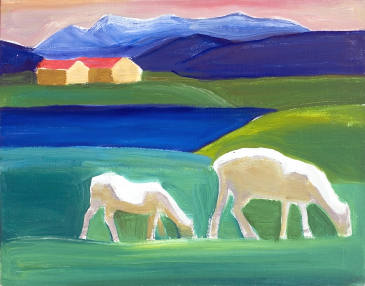 Two Sheep, Houses, and Water, 1984