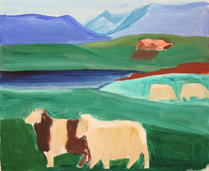 Icelandic Landscape with Four Sheep
