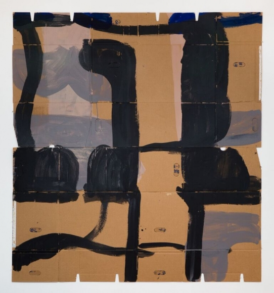 "Virva Hinnemo's The Road (Acrylic on cardboard, 76 1/4"" x 71"") at Anita Rogers Gallery"