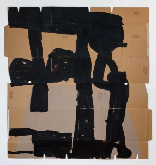 "Virva Hinnemo's Half Planet (Acrylic on cardboard, 76 1/4"" x 71"") at Anita Rogers Gallery"
