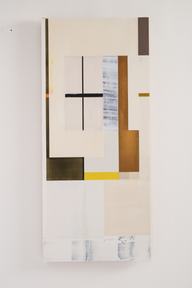 "Joan Waltemath's RA's dream (2012 – 16. Oil, graphite, pewter, interference, glimmer, and florescent pigment on honeycomb aluminum panel. 38 1/2"" x 19 24/127) at Anita Rogers Gallery"