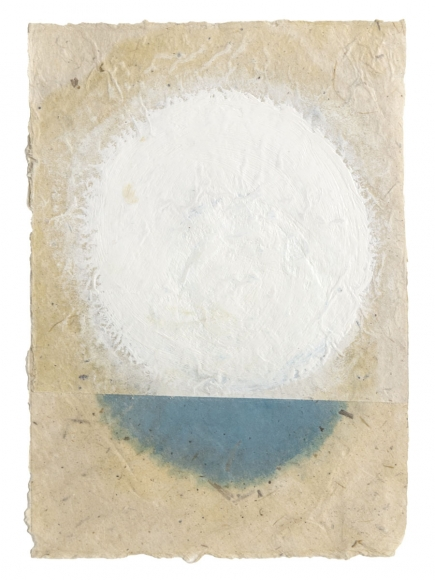 "Kazimira Rachfal's 'squaring the circle', series I, #5 (Oil on paper, 6 1/2"" x 4 3/4"") at Anita Rogers Gallery"