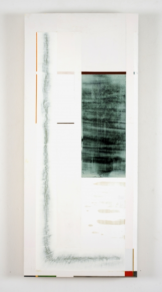 "Joan Waltemath's grey lightening (East 3  1,2,3,5,8...). 2010-13. Oil, graphite, pewter, interference, glimmer and florescent pigment on honeycomb aluminum panel. 33 ⅞"" x 14 9/16"""
