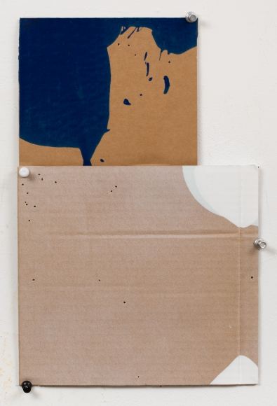 "George Negroponte's Clearing (Enamel, acrylic and spray paint on cardboard, 12 1/2"" x 8 1/4"") at Anita Rogers Gallery"
