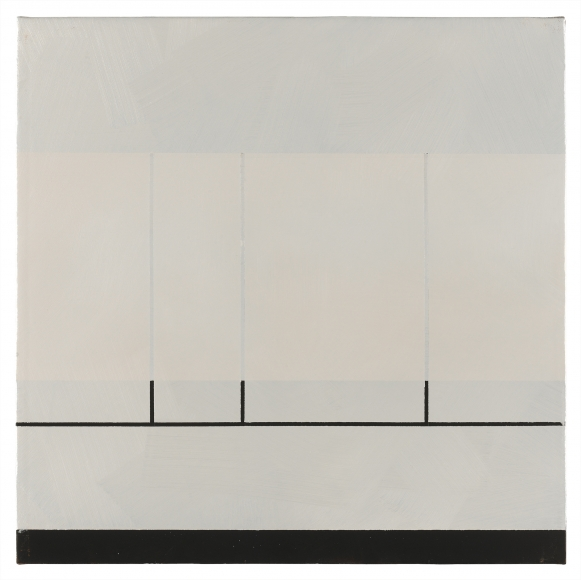 "Jan Cunningham. Fence XII. 2012. Oil on linen. 16"" x 16"""